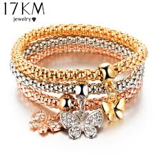 bracelet elastic heart images 17km 2016 hot 3 pcs set crystal butterful bracelet bangle jpg