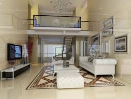 Duplex house living room design stairs hall interior