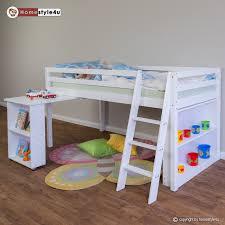Schreibtisch F 2 Personen Kinderbett Hochbett Funktionsbett Jugendbett 90x200 Weiß