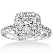 rings with square images 2 cttw halo princess square cut diamond engagement ring 14k white gold jpg
