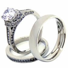 stainless steel wedding ring sets a gift of jewelry band ring wedding ring set for women and