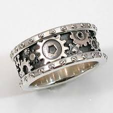 gear wedding ring steampunk mens silver ring gears and rivets industrial steam