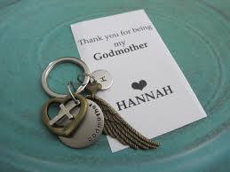 Will You Be My Godparent Invitation Card Godmother Gift Personalized Initial Keychain Godparent
