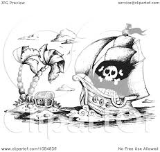 clipart sketched drawing of a pirate ship and treasure island