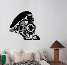wall decals stickers home decor home furniture diy vintage train wall sticker locomotive decal retro travel art bedroom decor lt2