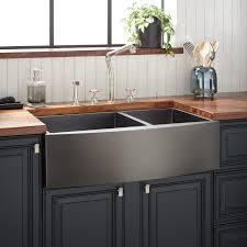 is an apron sink the same as a farmhouse sink 36 atlas 60 40 offset bowl stainless steel farmhouse sink curved apron gunmetal black