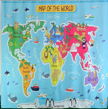 North America World Map by Bathroom Makeover Your Bathroom With World Map Shower Curtain
