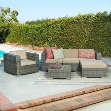 Wicker Sectional Patio Furniture by Mercury Row Rister 4 Piece Sectional Seating Group With Cushion
