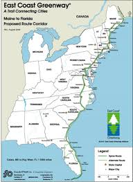 map of east coast states east coast greenway from florida to maine is 31
