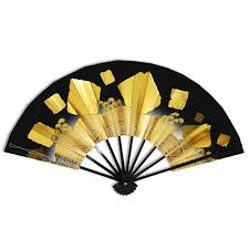 decorative fan japanese weighted fan black and gold mai ougi fan