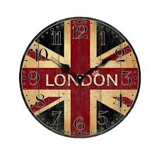 british style vintage england london flag creative round wood wall