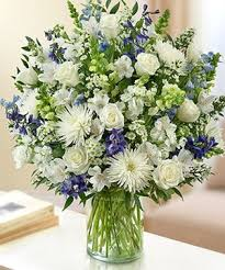 white and blue floral arrangements sincerest sorrow all white by 1 800 flowers white mixed flowers