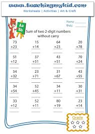 addition u2013 sum of two 2 digits numbers without carry u2013 worksheet
