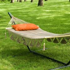 Hammock And Stand Set Furniture Backyard Lanscaping Design With Cream Cotton