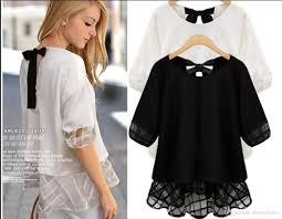 big bow blouse 2018 big size shirt chiffon t shirts for tulle shirt