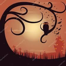 owl sitting on tree in halloween night u2014 stock vector