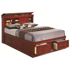 bedroom queen platform bed with drawers and headboard solid wood