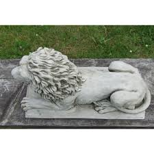lion statue on plinth cast stone garden ornament patio home decor