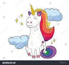 unicorn cartoon image artistic freehand drawing stock vector