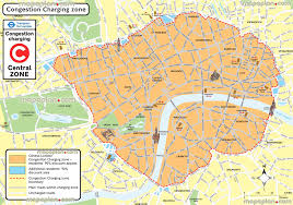 Map Directions Driving London Map London Congestion Charge Zone Area Boundary Map