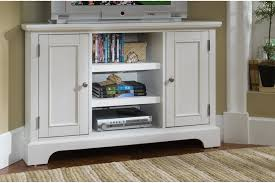 furniture white corner tv stand with 2 cabinets and 3 shelves