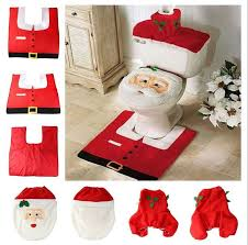 Christmas Bathroom Rugs 3pcs Happy Santa Snowman Bathroom Toilet Seat Cover Rug Set