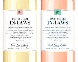 in wine labels wedding thank you gift parents of the
