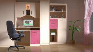 pink and brown wooden computer desk hutch free stock photo