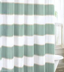 Wide Fabric Shower Curtain Wide Stripes Teal Turquoise Beige White Cabana Stripe