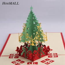 online shop hoomall 1pc 3d pop up christmas tree card new year