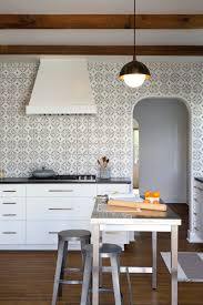 patterned tile black white kitchen backsplash idea with ideas