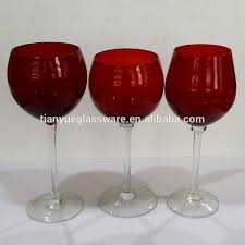 Beautiful Wine Glasses Hotel Glassware Red Colored Wine Glass With Clear Stem Buy Hotel