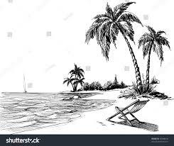 summer beach pencil drawing stock vector 78768616 shutterstock