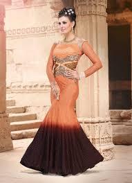 buy indian fashion party gowns online usa orange designer evening
