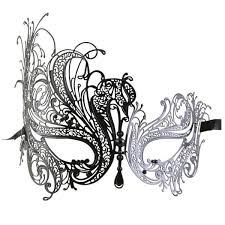 black series swan metal filigree laser cut womens masquerade mask
