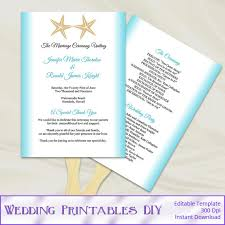 ceremony fans wedding program fans template diy aqua blue gold starfish