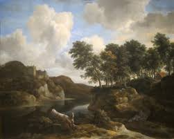 file river landscape with a castle on a high cliff by jacob van