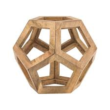floral delights decorative mango wood picture photo home titan lighting 15 in honeycomb orb decorative sculpture in natural