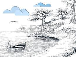 a bench by the sea seascape sketch royalty free cliparts vectors