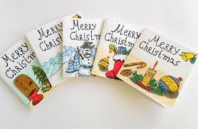 set of 5 merry christmas cards hand drawn exiarts
