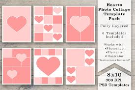 8x10 heart photo collage templates templates creative market