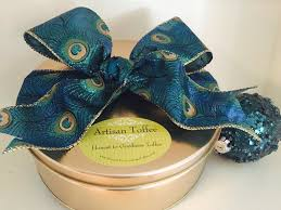 peacock ribbon gold gourmet gift tin with new peacock ribbon honest to