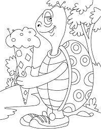turtle relishes cone ice cream coloring pages download free