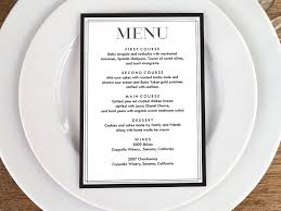 printable menu classic black and white menu cards menu card