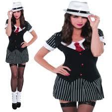Halloween Costume Gangster Womens Teens 20s Gangster Mob Mafia Fancy Dress Costume