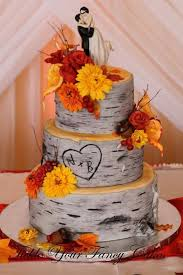 fall wedding cake toppers nature inspired wedding decorations birch tree trunks lamg farm