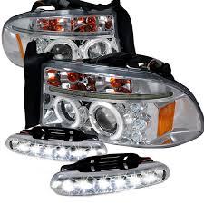 dodge dakota fog light combo 97 04 dodge dakota dual halo led chrome projector headlights