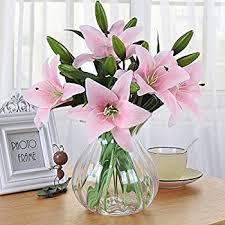 Fake Flowers For Home Decor Amazon Com Sweet Home Deco 22 U0027 U0027 Silk Stargazer Lily Artificial