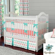 nursery beddings coral teal and yellow crib bedding as well as