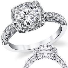 moissanite vintage engagement rings forever one moissanite antique scroll halo engagement ring